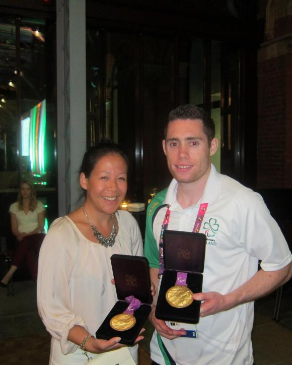 Fastest paralympian! After witnessing his 200M gold yesterday, meeting in person and touching the gold! Celebrating with Ireland's Gold medalist, Jason Smyth! Gold mens 100M T13, Gold mens 200M T13 Also two Golds prior in Beijing 2008
