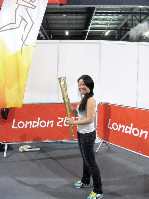 hee hee! The real Olympic torch. No dodgy hip is going to stop me training!