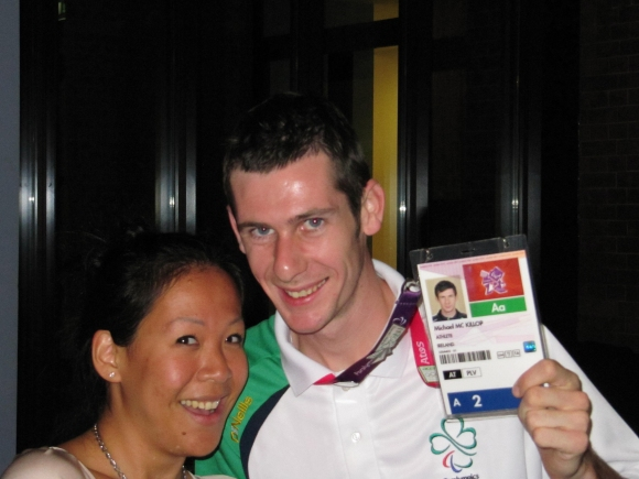 Laughing with Ireland's Gold medalist, Michael McKilop as we pretend with make shift medal! Gold mens 1500M T37 Gold mens 800M T37