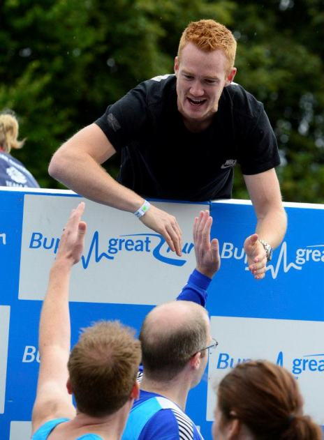 Olympic Gold Medal Heroes (left to right) Greg Rutherford, Nicola Adams, Kat Copeland, Ellie Simmonds and Mo Farah at the starting line of the 2012 Bupa Great North Run today. © North News & Pictures ltd